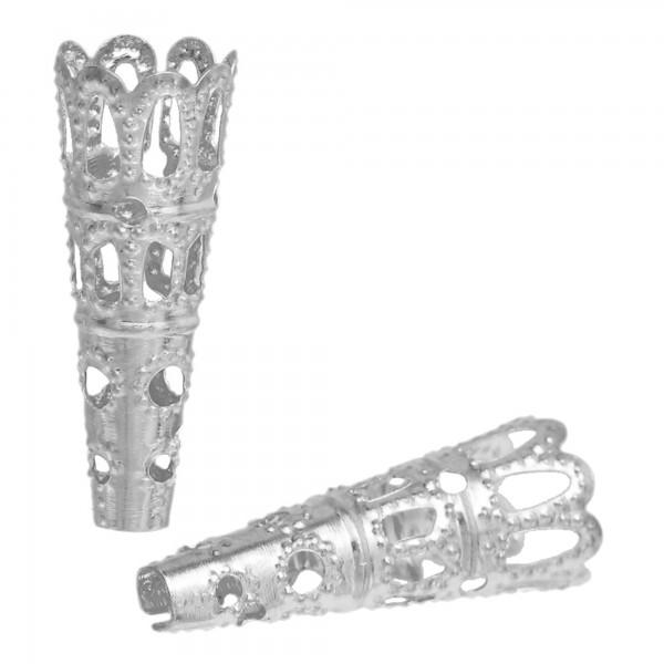 10 Perlenkappen 23x9mm für 8-10mm Perlen Kegel filigran Zierkappen silber gold