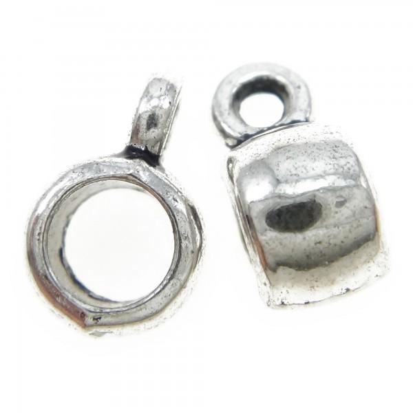 5 Kugel Anhängerverbinder 9mm Loch 3,5mm Spacer mit Öse Trommel Verbinder silber