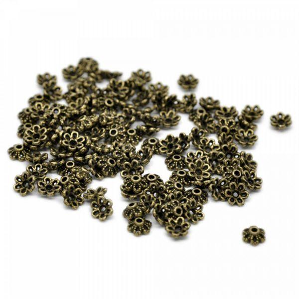 20 Perlenkappen 6,5x2,5mm silber bronze für 8-12mm Perlen Zierkappe Schmuckkappe