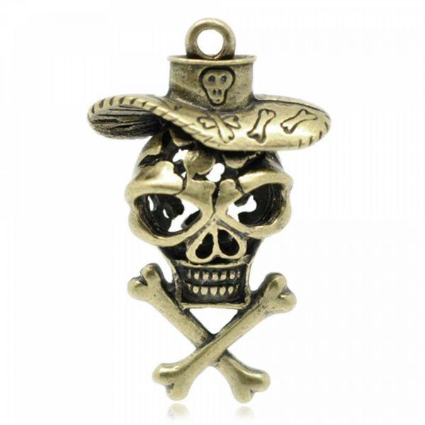Anhänger Totenkopf 4,5cm oder Geldsack 3,9cm XL 3D bronze skull Cowboy $ Dollar