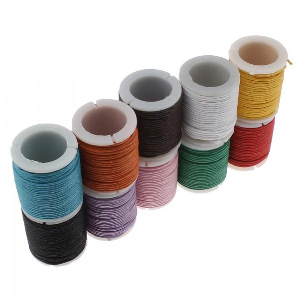 100m Wachsband 1mm (0,10€ pro m) im Farbenmix (10x 10m) Wachsschnur Band bunt