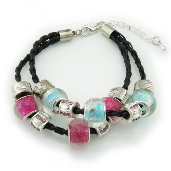 Armband 2-Strang Leder handgefertigt 18cm - 23cm 14 European Beads blau rosa