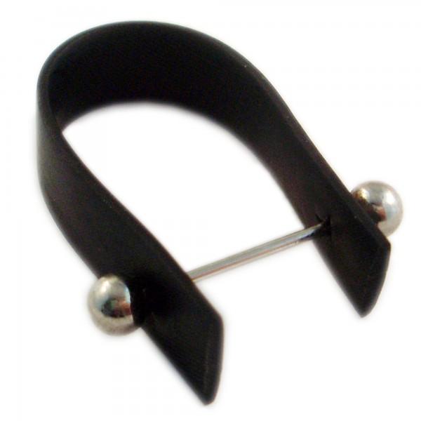 Wechselring 3x4cm mit Kugel Wechselstab aus Kautschuk schwarz silber Perlen Ring