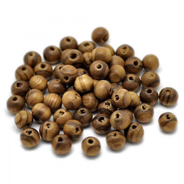 100 Streifen Holzperlen 8mm Fädelloch 2mm kaffee braun Holz Perlen wood beads