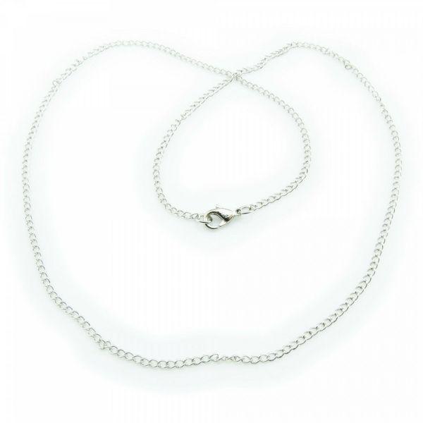 Ösen Kette 2,5 x 2mm x 46cm antiksilber Karabiner Halskette Ösenkette schlicht