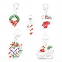 Dangle Weihnachten European Beads Anhänger Kranz Glocke Stiefel Zuckerstange