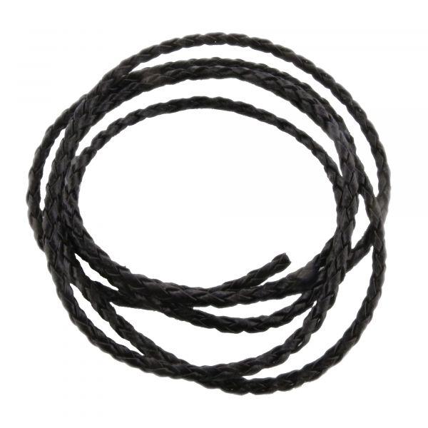 1m Bolaband 3mm (1,58€ pro m) schwarz geflochten Kunstleder Band Kord Schnur