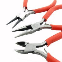 3 Zangen Set rot Schmuck machen Herstellung Rundzange Flachzange Seitenschneider
