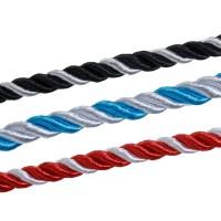 1m Baumwolle Kordel 5mm (1,98€ pro m) gedreht zweifarbig Band rot blau schwarz