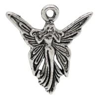 5 Anhänger Fee 19 x 20mm antiksilber Engel Elfe Mädchen Frau Märchen Fabelwesen