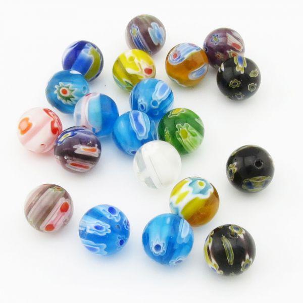 20 XL Millefiori Design Glasperlen 11,5mm Kugel rund bunt Mix Farben
