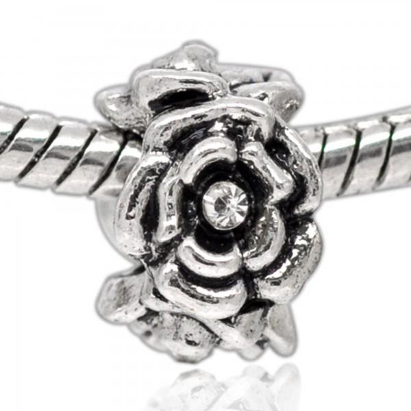 5 Strass Rosen European Beads 13mm silber Großloch Blumen Modul Perlen Spacer