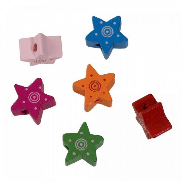 10 Stern Holzperlen bunt Mix 15mm Fädelloch 2mm mit Sonne Schnullerkette star