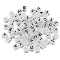 35 XL Buchstaben Perlen 12mm weiß Alphabet ABC Würfel Namen Armband letter beads