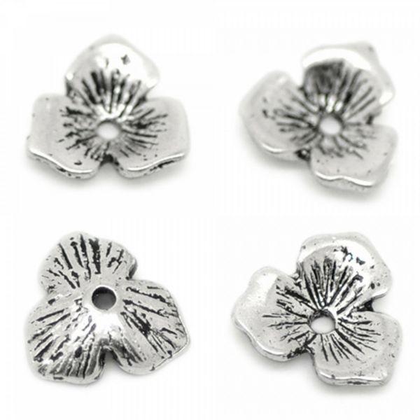 20 Blumen Perlenkappen 11mm für 14-20mm Perlen silber gold bronze Zierkappen