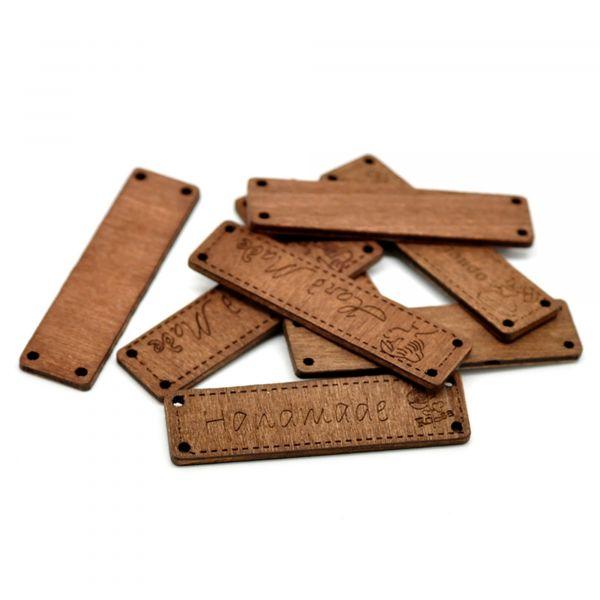 10 Holz Verbinder 6,4x1,7cm Mix braun handmade Zwischenteil Zwischenperle Spacer