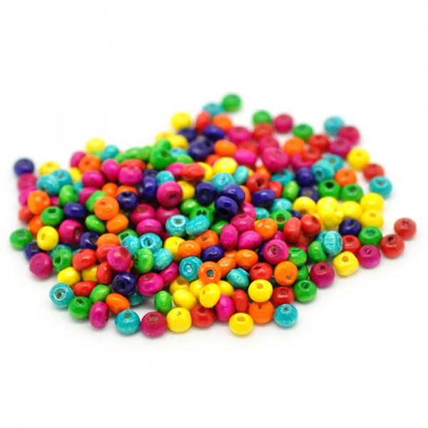 200 Holzperlen 4x3mm bunt Mix Rondelle Scheibe wood beads Perlen Zwischenperlen