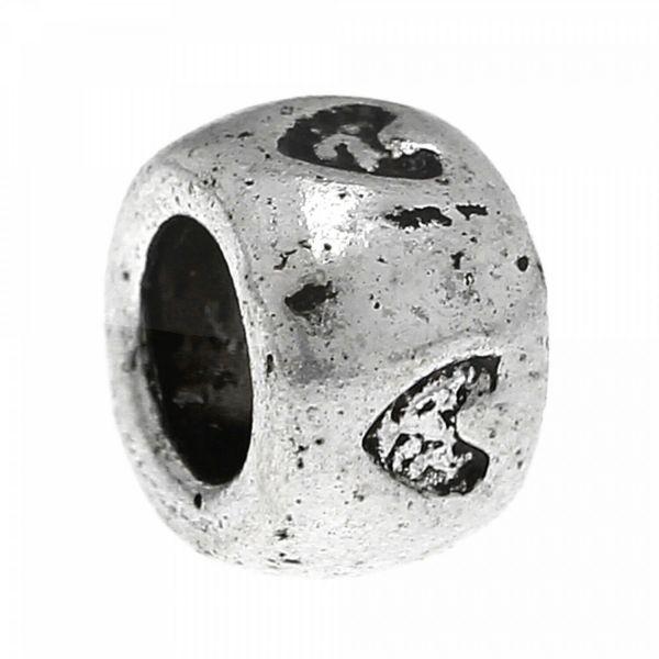 5 Herz European Beads 8x5mm Fädelloch 4,75mm mit Herzen Perlen silber Modulperle