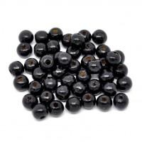 100 runde Holzperlen schwarz 10x9mm Fädelloch 3mm Kugel wood gefärbt