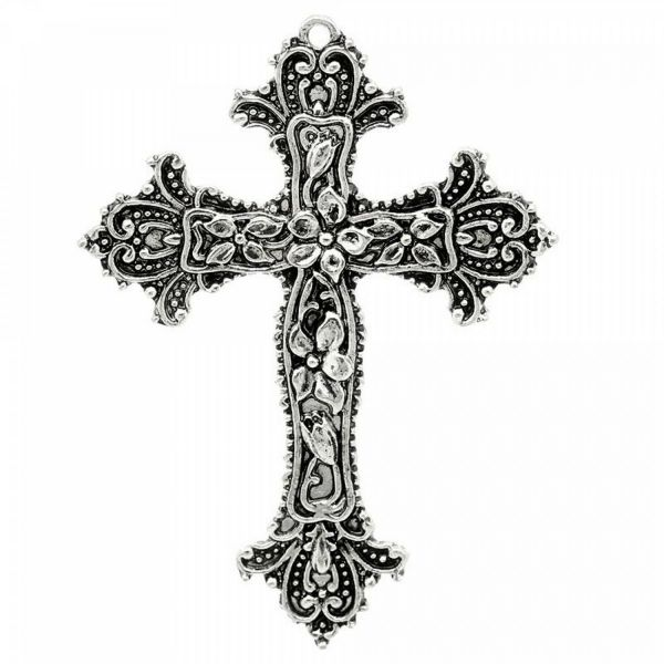 Kreuz Anhänger 66mm Blumen Verzierung silber bronze Halskette Kette Rosenkranz