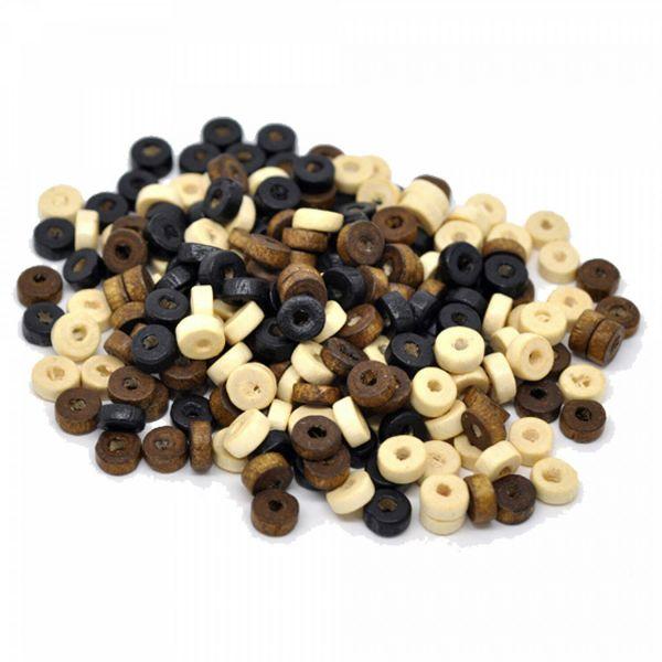 200 Holzperlen Rondelle 3,5x8mm beige braun schwarz Mix Holz Perlen bead Scheibe