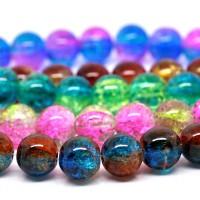 425 zerbrochene Perlen 10mm (5 Stränge 80cm) Crackle Perlen Crash rund Mix Paket