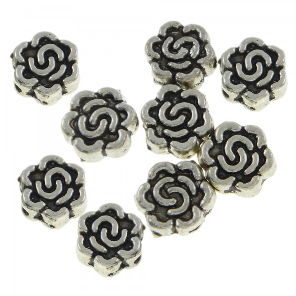 50 Zwischenperlen Rosen 7mm silber Spacer Blumen Metallperlen flower beads Perle