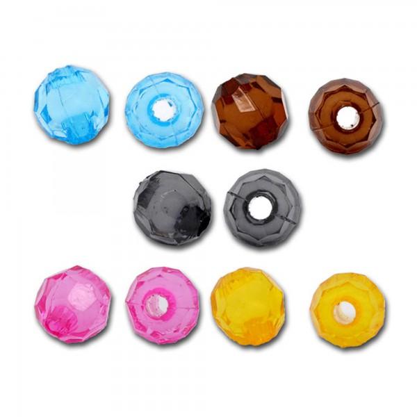 200 facettierte Perlen 6mm Farben Mix Kunststoff Acryl faceted Zwischenperle Top