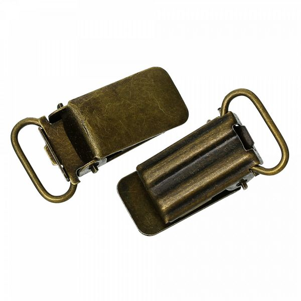 5 Schnullerketten Clips 3,3x1,8cm bronze Hosenträger Baby Schnulli Schnuller
