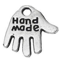 """50 Anhänger """"Handmade"""" 13mm silber Metall Hand charms Metallperlen handgemacht"""