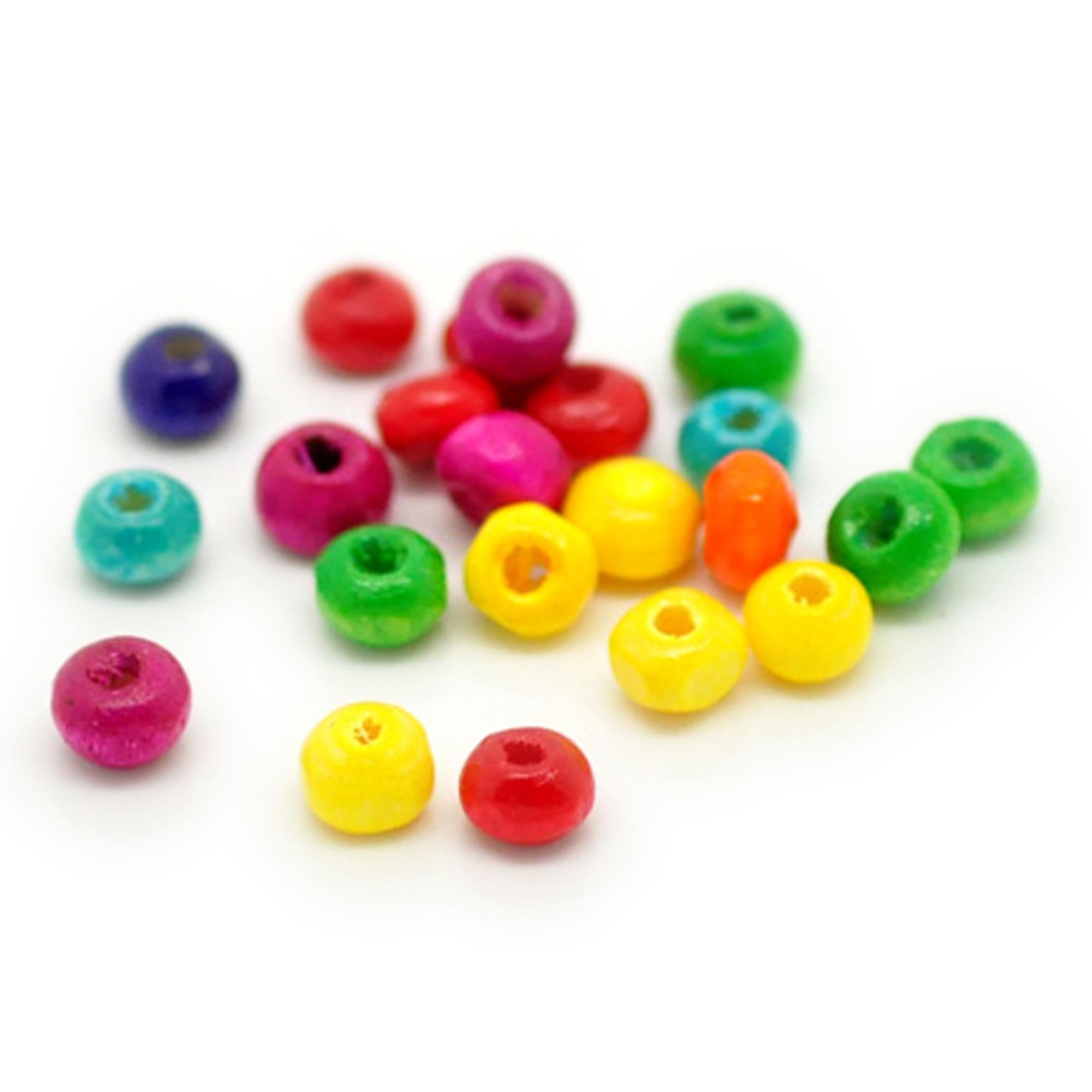 200 Mix Bunt Würfel Zahl Holz Perlen Beads 10x9mm