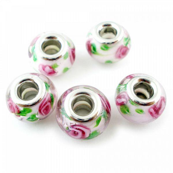 5 Lampwork European Beads silber Rondelle Modul Großloch Perlen Spacer groß