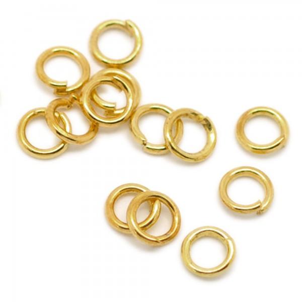 100 Biegeringe 7mm gold 1mm dick offen Binderinge Ösen Verbinder Zwischenringe