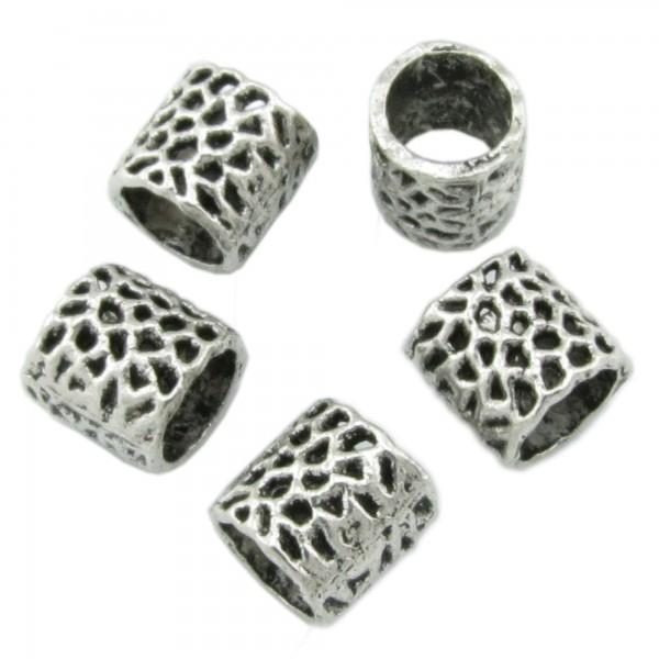 5 European Beads 8x8mm Fädelloch 6mm schraffiert getupft Muster silber Großloch