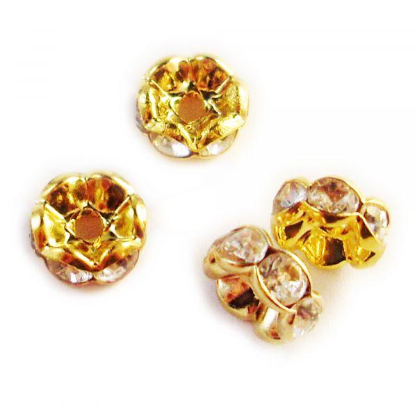 10 Zwischenperlen Strass 8mm gold Rondelle Spacer Crystal Glitzer Perlen Rund