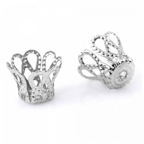30 Perlenkappen Krone 9x7mm für 8-10mm Perlen silber gold bronze Zierkappen Zier
