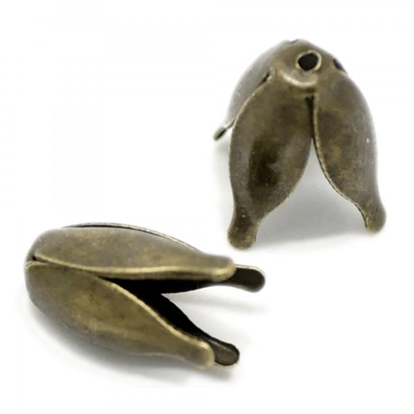 20 Perlenkappen Krone 11x13mm für 10mm Perle silber bronze Zierkappen Verzierung
