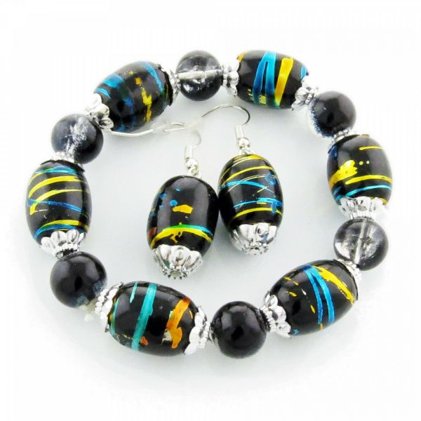 Armband + Ohrringe Glasperlen Set 20cm schwarz silber Schmuckset Ohrhänger neu