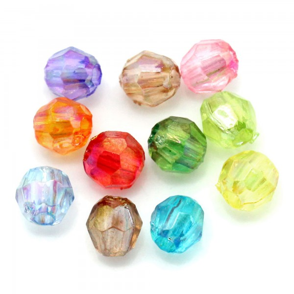 200 Perlen AB Schimmer 4x4mm facettiert Farb Mix Lichteffekt Acryl faceted beads