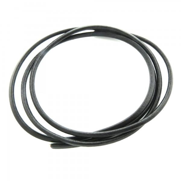 1m Lederband 4mm (2,48€ pro m) schwarz rundes echtes Leder Rundleder Schmuckband
