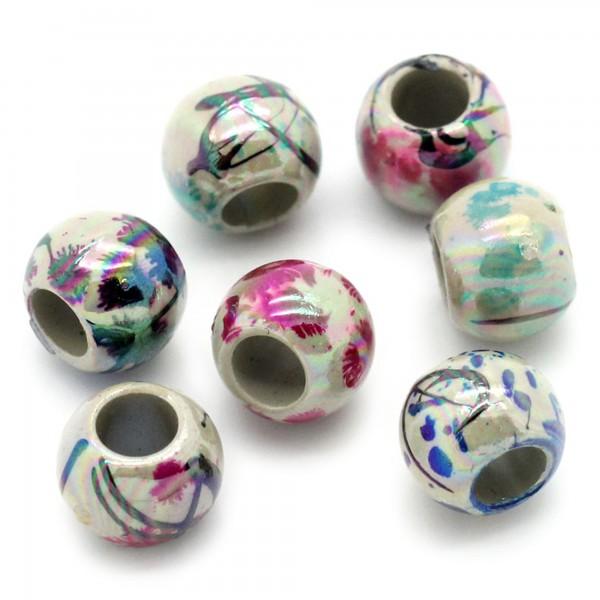 100 Perlen AB Schimmer 8mm mit Drawbench Muster Fädelloch 4mm Kunststoff beads