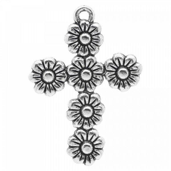 Kreuz Anhänger aus 6 Blumen 37x26mm Muster silber cross Rosenkranz Kette charm