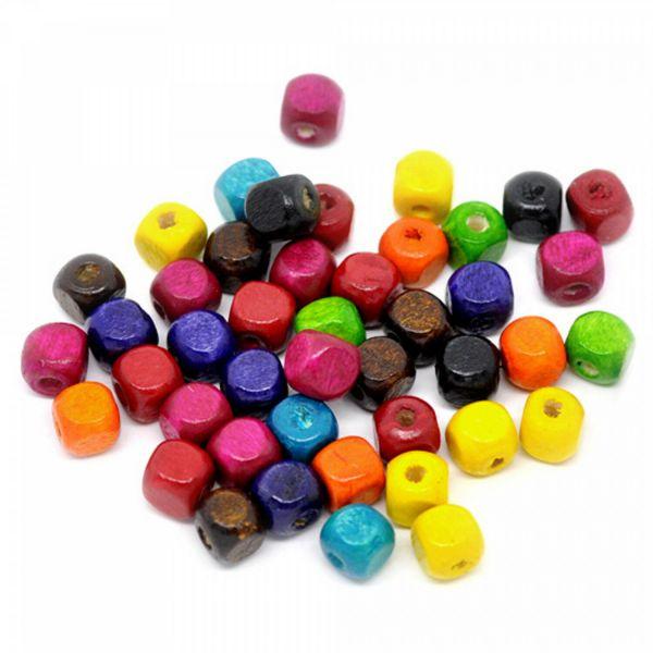 100 Würfel Holzperlen bunt 8mm Mix Perlen Schmuck Kinder basteln cube wood beads