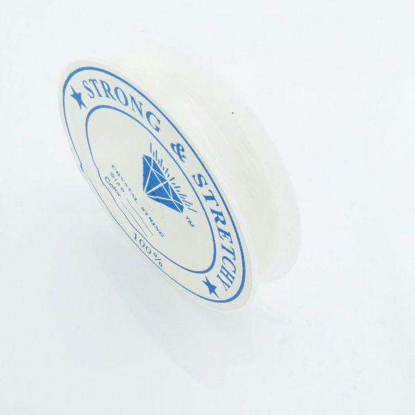 10m Silikon Band 0,6mm (0,23€ pro m) Gummi elastisch Rolle Schnur weiß Schmuck