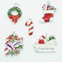 Anhänger Weihnachten christmas aus Emaille Stiefel Zuckerstange Kranz Glocken