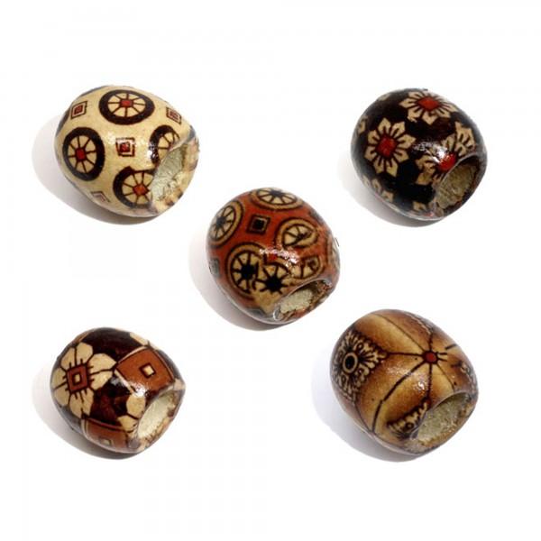 40 Holzperlen 17x16mm braun Erdtöne Fädelloch 7,4mm gemustert groß Holz Perlen