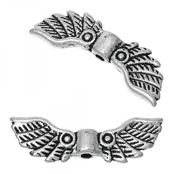 10 Flügel Zwischenperlen 22x7mm Spacer Engel basteln Metallperlen Schutzengel