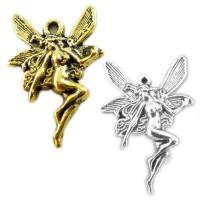 5 Anhänger Fee 15 x 21mm silber gold Engel Elfe Frau Mädchen Märchen Fabelwesen