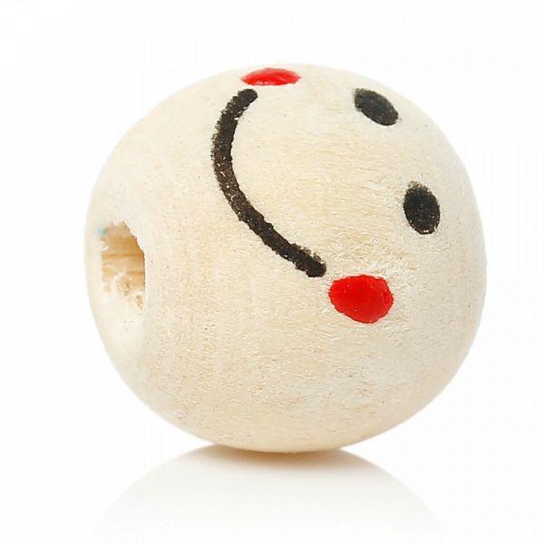 10 Smiley Holzperlen 13x12mm Fädelloch 4mm Lächel Perlen rund Schnullerkette