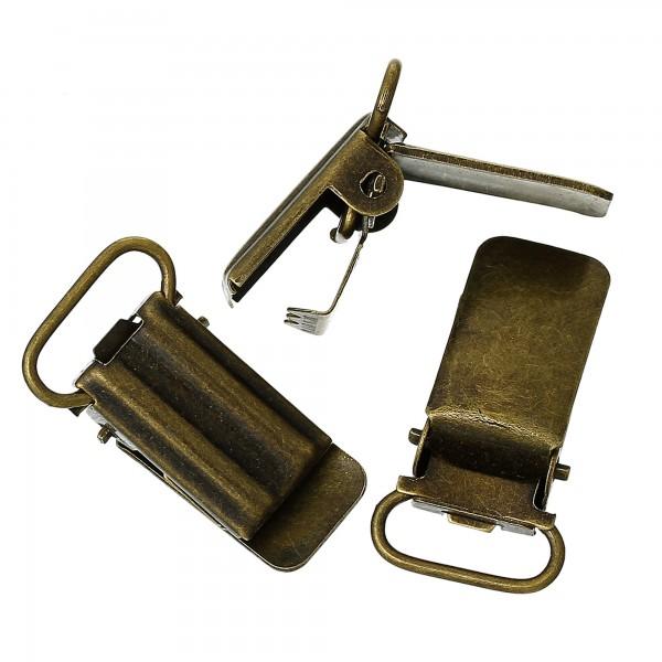 20 Hosenträgerclips 3,3x1,8cm bronze für Band bis 1,5cm Spannclips Schnulli Clip